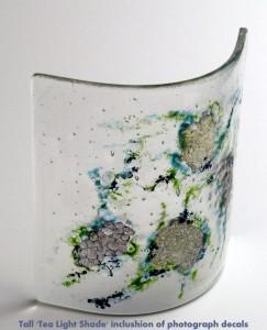 Tall Tea Light Shade, Blue,Green 20 W x 16 H cm DSCF2854