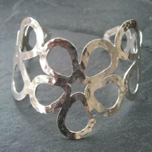 2. Hammered silver flower cuff.smaller