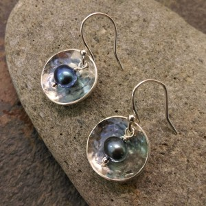 5. Domed disc earrings with blue freshwater pearls.smaller