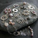 8. Long necklace with hammered silver & freshwater pearls.smaller